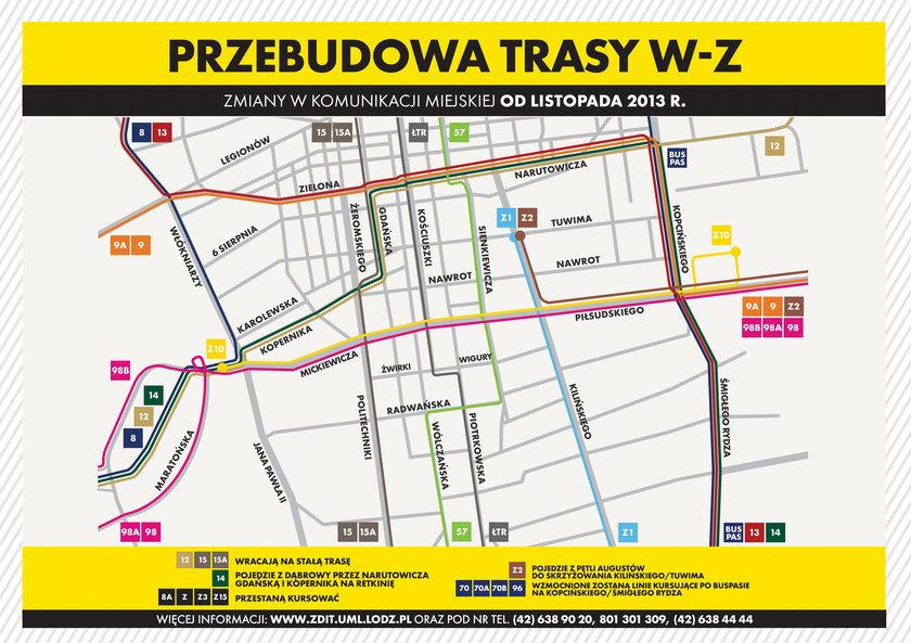 schemat komunikacji na czas budowy trasy WZ