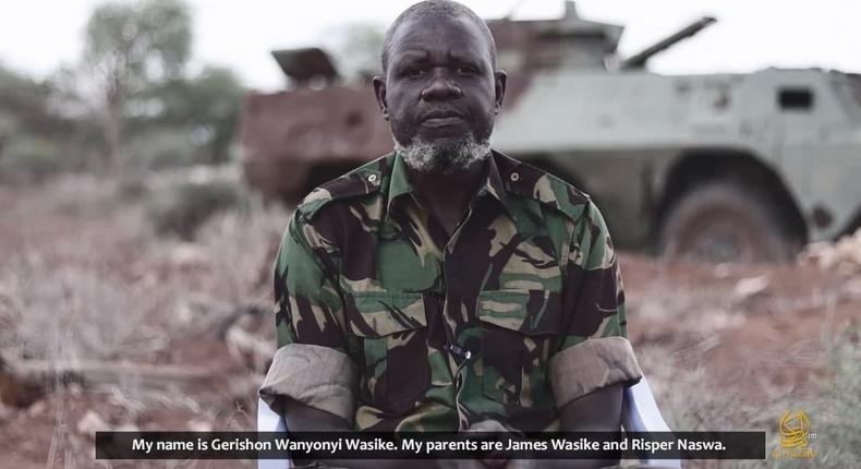 KDF soldier Gerishon Wesike as captured in a video released by Al Shabaab