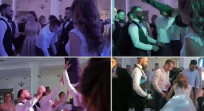Groom's spine broken after friends threw him in the air but failed to catch him (video)