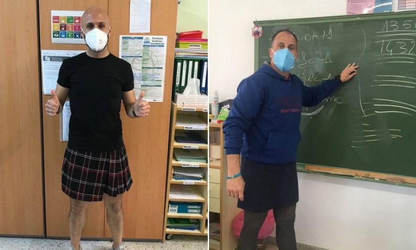 Nauczyciele założyli spódnice, aby wesprzeć ucznia.