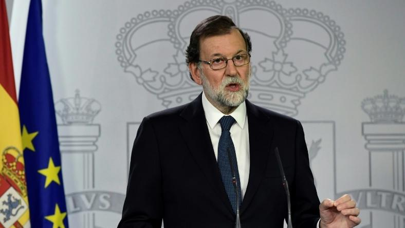 Spanish Prime Minister Mariano Rajoy speaks during a press conference at La Moncloa Palace in Madrid following a referendum on independence for Catalonia banned by Madrid on October 1, 2017