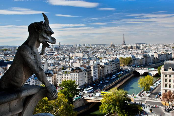 Paris panorama, France. View on Eiffel Tower and Seine river from Notre Dame
