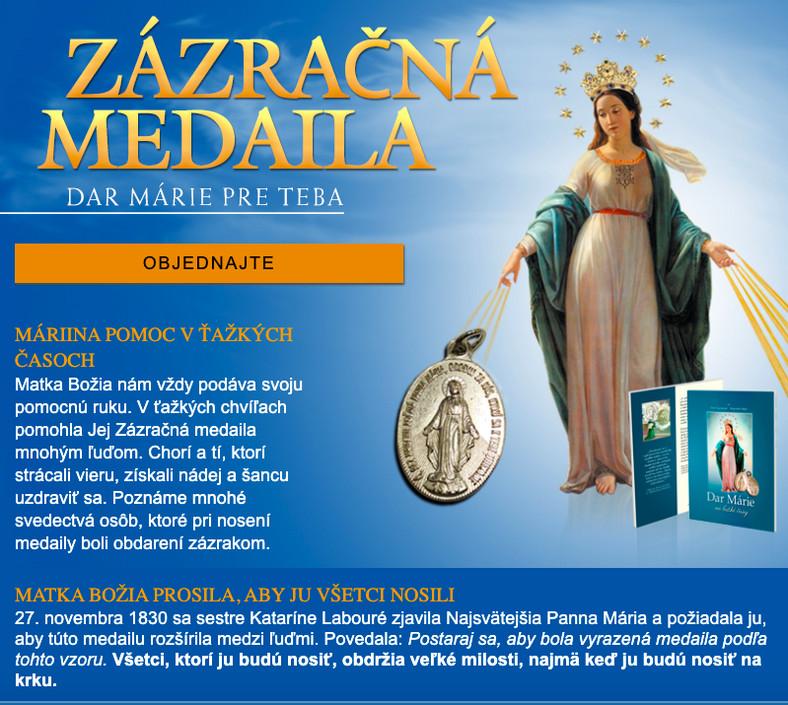 Akcja fundraisingowa w Słowacji, screen z www.zazracna-medaila.sk