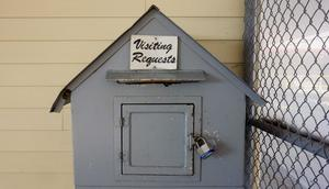A visitation requests box in a max-security prison in Louisiana.