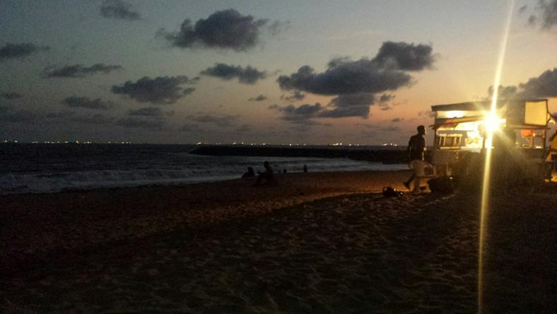 Lagos beach at night