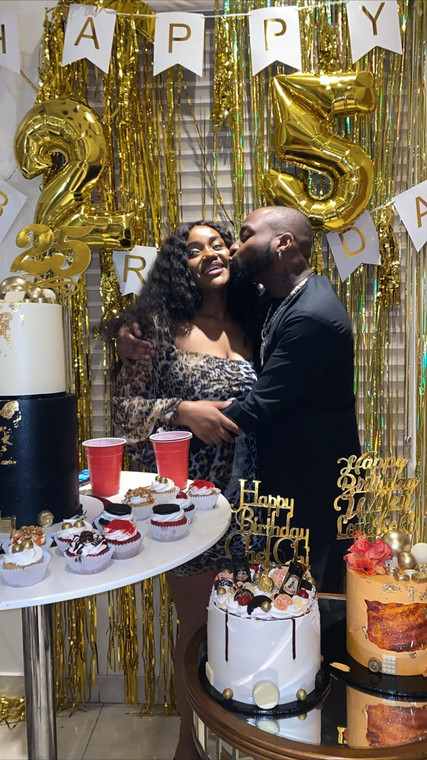 The music star and his fiancee celebrated privately at their residence in Lagos. [Instagram/DavidoOfficial]