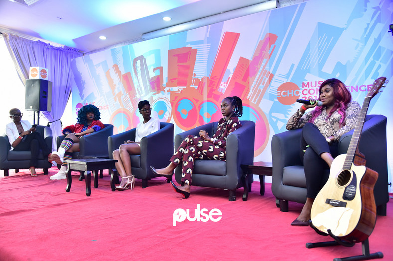 L-R: A cross-section of the panel on artists and record labels from ECHO Music conference 2019; Chidera Muoka, (Editor-In-chief, Guardian Life); Moonchild Sanelly; Aibee Abidoye (Vice President, Chocolate City); Temilade Adeniji (from Warner Music) and; Niniola. (Pulse Nigeria)
