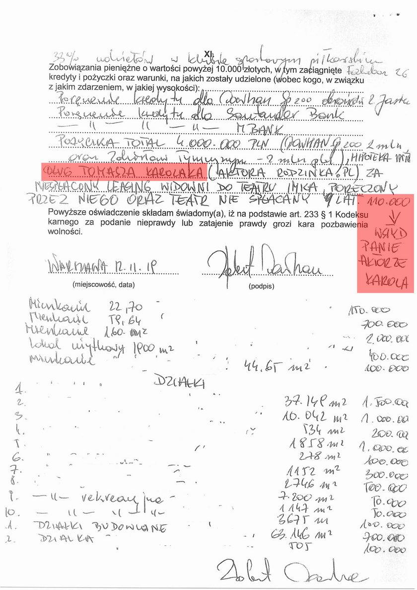 Oświadczenie majątkowe Roberta Dowhana