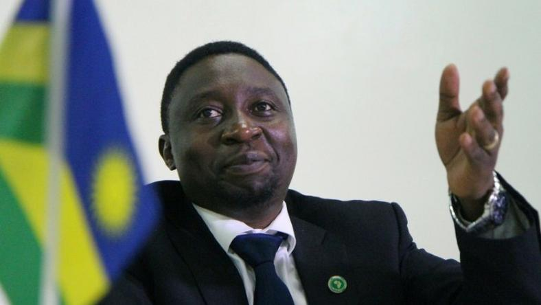 Frank Habineza, leader of the Democratic Green Party, a Rwandan opposition group, speaks during a political bureau on December 17, 2016 in Kigali, when he was appointed candidate for the next presidential election in August 2017