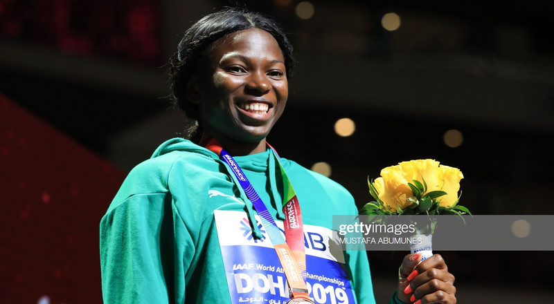 Nigerian athlete Ese Brume wins bronze in the long jump event of 2019 IAAF