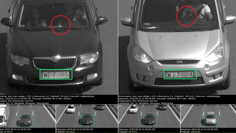 Integra 3D+ w akcji na drodze ekspresowej S8. Skoda Superb i Ford S-Max sfotografowane za jazdę na zderzaku poprzedzających pojazdów. Do tego obaj kierowcy z telefonem w ręku