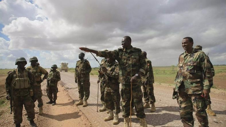 KDF soldiers scanning an area