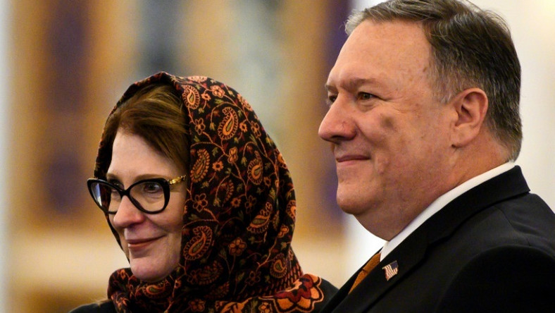 US Secretary of State Mike Pompeo, who has announced a ministerial meeting in Poland on the Middle East, tours the newly inaugrated Al-Fattah Al-Alim mosque in Egypt with his wife Susan