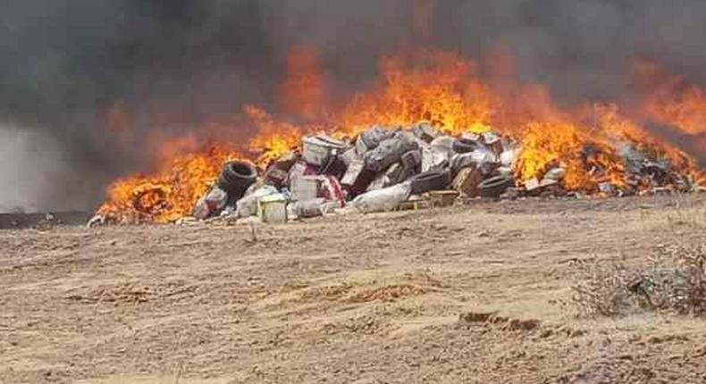 Seized fake NAFDAC regulated products set ablaze. [WSJ]