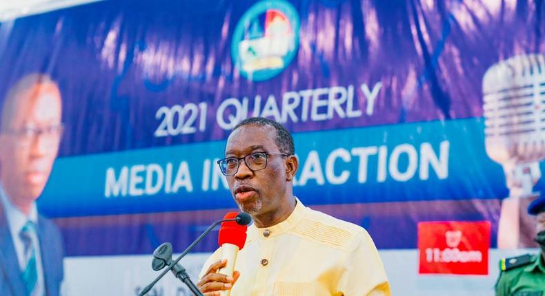 Delta Gov Ifeanyi Okowa interacts with the media in Asaba, the Delta State capital on Wednesday, May 19, 2021