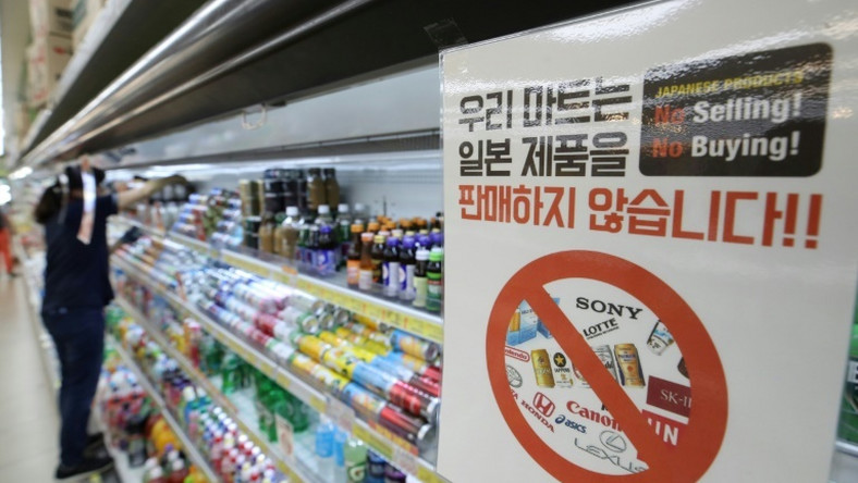 A shop sign in Seoul informs customers that it will not sell products from Japan, as a trade dispute between the US allies worsens