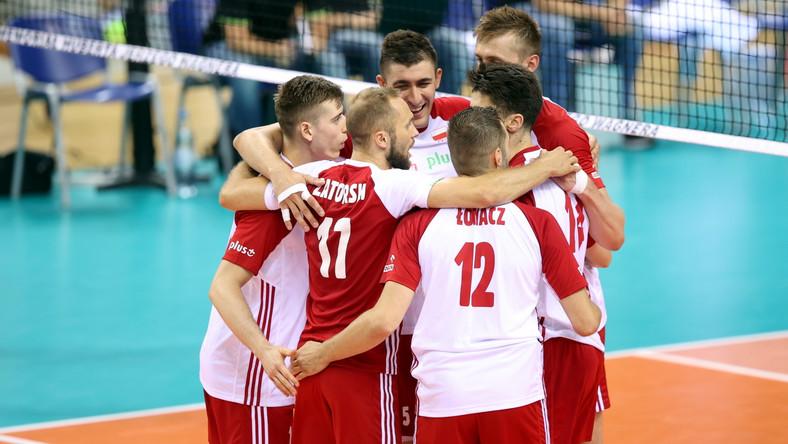 Radość siatkarzy reprezentacji Polski podczas meczu z Norwegią