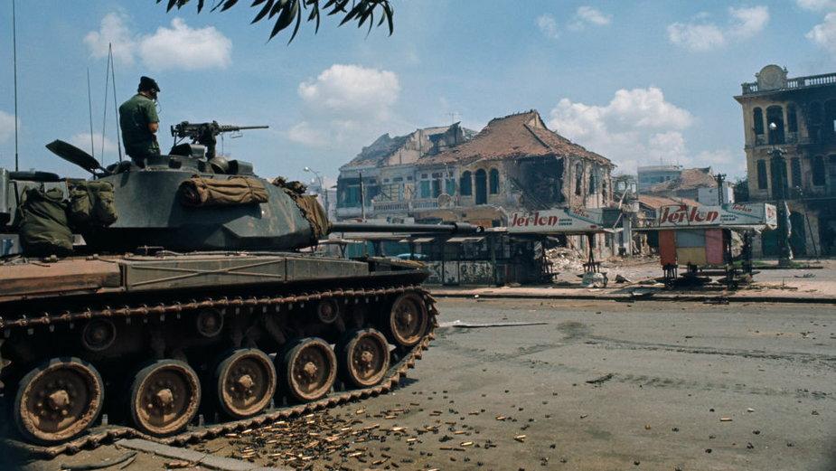 Zniszczone miasto Saigon (obecnie Ho Chi Minh), Wietnam 1968 r.