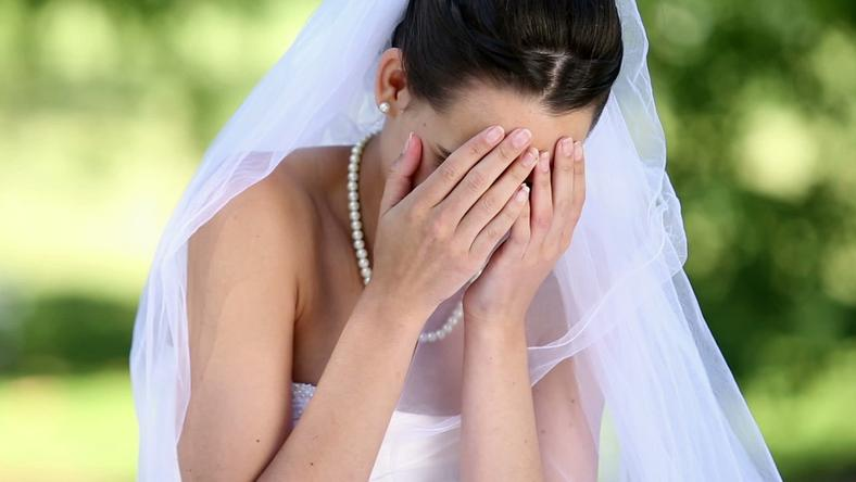 Bride crying on wedding day