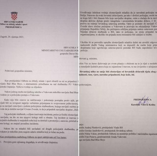 Pismo koje je povodom incidenta u policijskoj stanici u Vukovaru Vidović Krišto uputila najvišim zvaničnicima Hrvatske