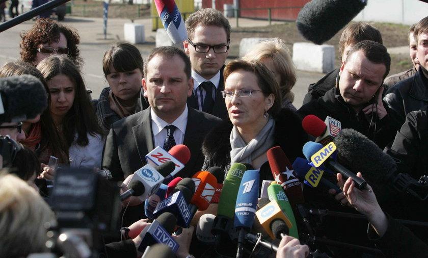 Ewa Kopacz w Moskwie 12 kwietnia 2010 r.