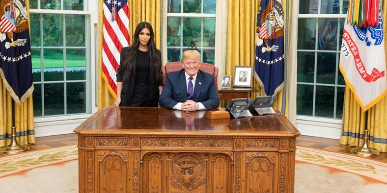 Donald Trump and Kim Kardashian during her visit to the White House [Variety]