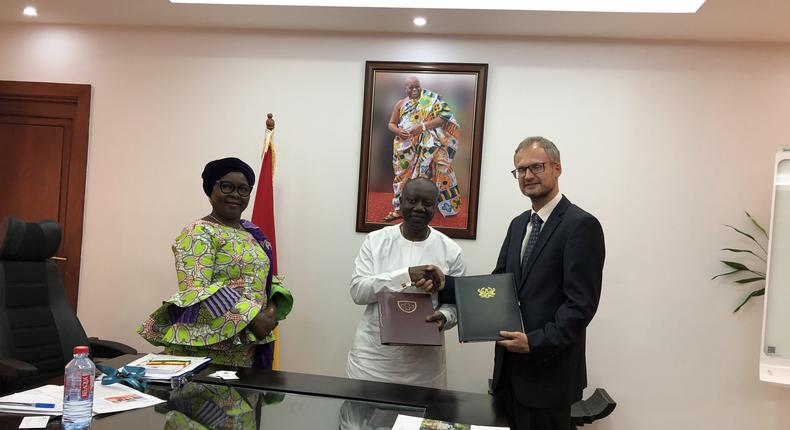 The Swiss Ambassador Philipp Stalder, the Minister of Finance, Ken Ofori Atta and the Minister of Local Government and Rural Development, Hajia Alimah Mahama