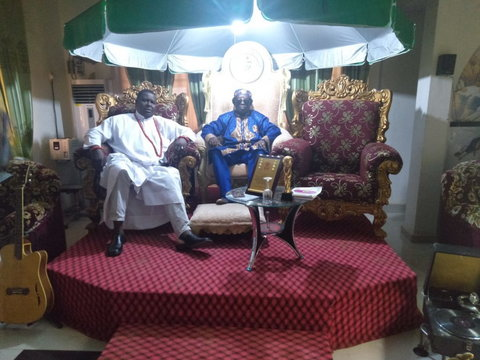 """Left-Right Mr Olusegun Runsewe, Director General, National Council for Arts and Culture (NCAC) with Prof. Victor Uwaifo, Nigerian legendary musician during a visit to his """"Revelation Tourists Palazzo"""" museum in Benin City, Edo state. (NAN)"""
