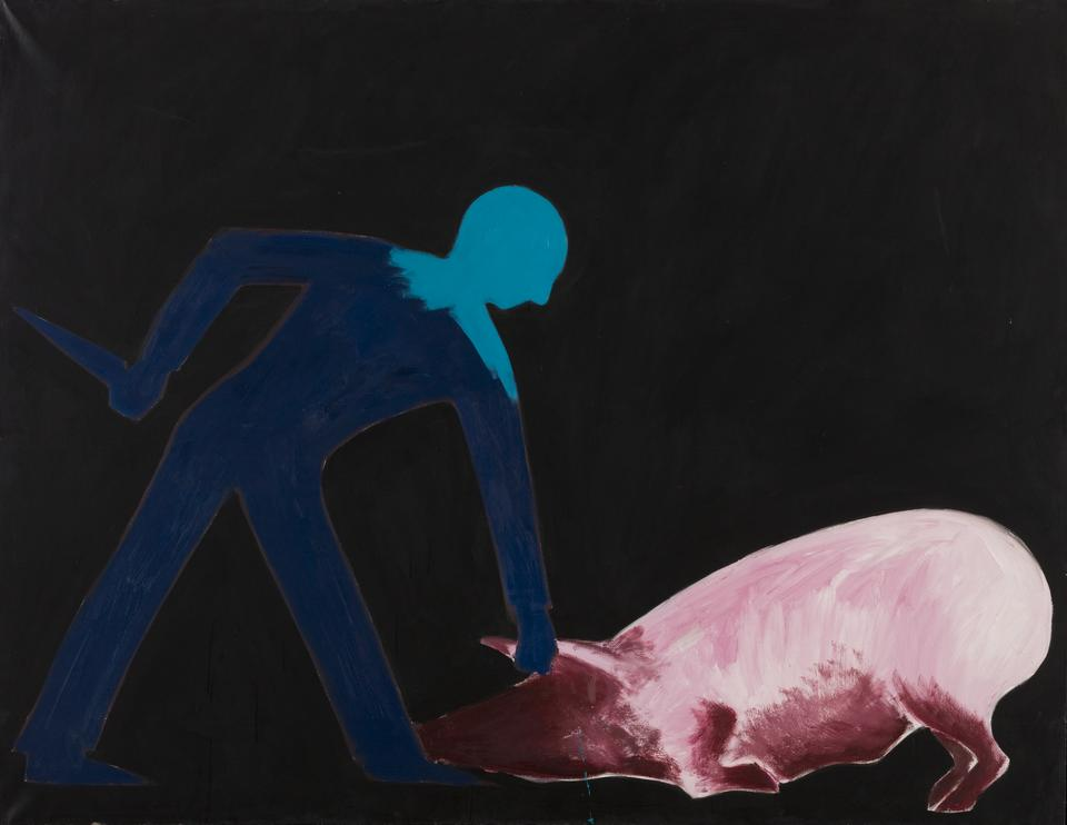 Jarosław Modzelewski, Zabijanie świni, 1983, olej na płótnie, fot. MNK