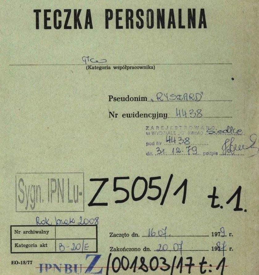 Teczka personalna Kazimierza Kujdy