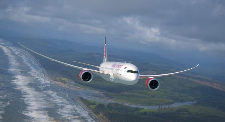Kenya Airways plane mid air.