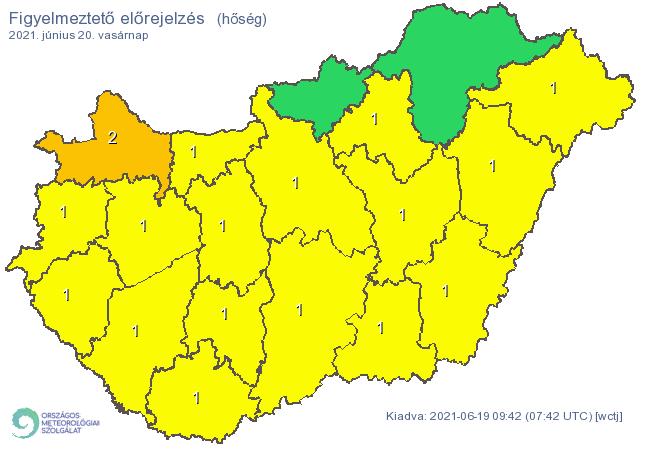 A hőség miatt Győr-Moson-Sopron megyében másodfokú riasztást adtak ki /Fotó: met.hu