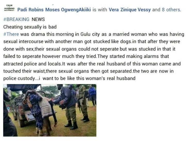 Ouganda : Une Femme Mariée Et Son Amant Restent Coincés En Plein Acte Sexuel