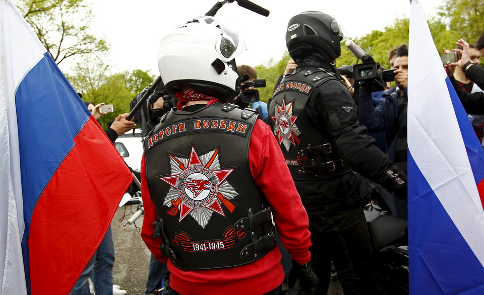 Members of the Russian motorcycle group called 'Nachtwoelfe' arrive at the parking space of the former German Nazi concentration camp in Dachau