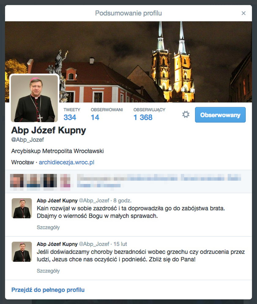 Profil na Twitterze arb. Józefa Kupnego