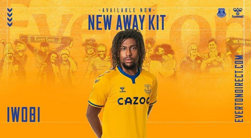 Alex Iwobi models new Everton away jersey