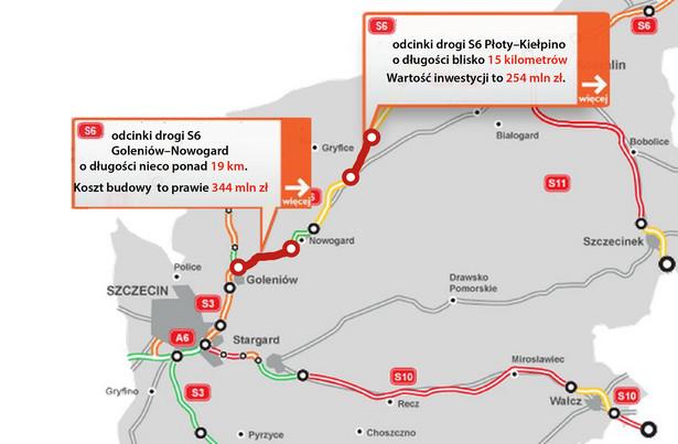 droga ekspresowa S6 - odcinki Goleniów–Nowogard i Płoty–Kiełpino