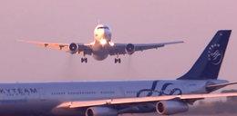 Samoloty prawie zderzyły się na lotnisku. MOCNY FILM