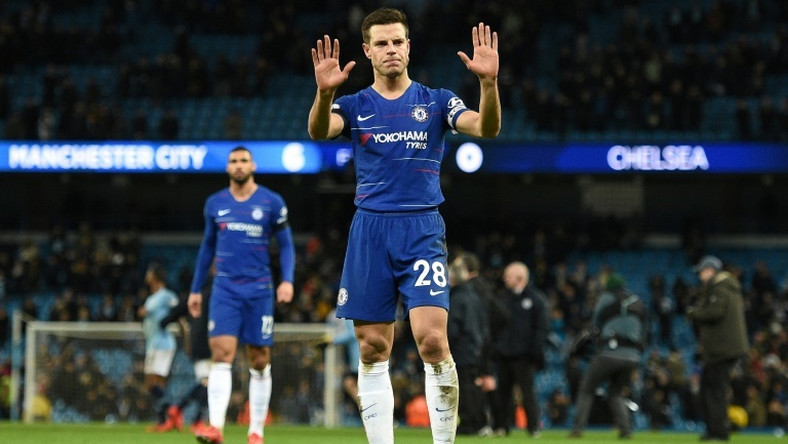 Cesar Azpilicueta acknowledges the fans after his Chelsea side were beaten 6-0 by Manchester City