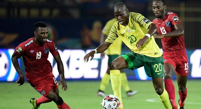 Mamelodi Sundowns star Peter Shalulile (R) playing for Namibia against South Africa during the 2019 Africa Cup of Nations in Egypt Creator: JAVIER SORIANO