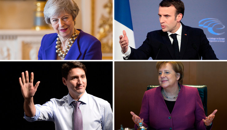 lideri kombo, Merkel, Trudo, Makron, Mej