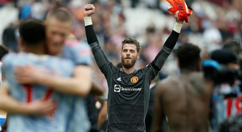 David de Gea celebrates after saving Mark Noble's penalty in Manchester United's 2-1 win against West Ham in the Premier League Creator: Ian KINGTON