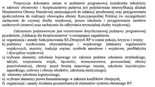 Fragment dokumentu przygotowanego przez MON