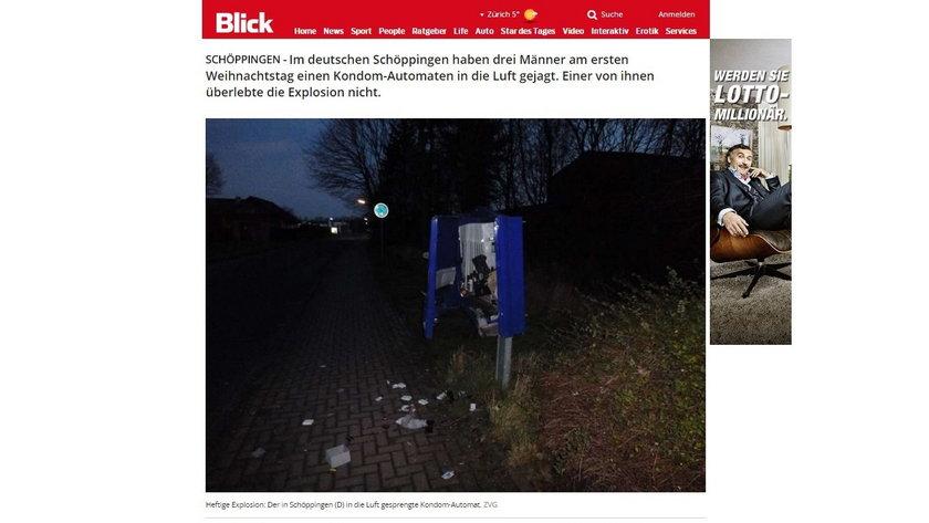 Eksplozja automatu z prezerwatywami w Schöppingen