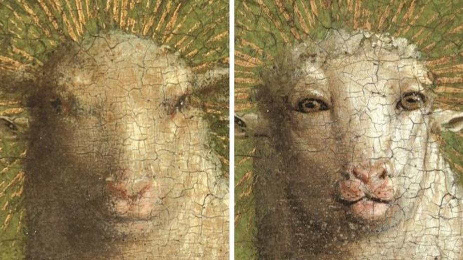 Ołtarz gandawski przed i po renowacji (fot. Królewski Instytut Dziedzictwa Kulturowego)