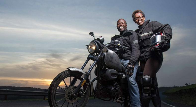 Biker couple, Wamuyu and Dos Kariuki, of Throttle Adventures on their world tour