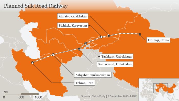 Planowane połączenia kolejowe Nowego Szlaku Jedwabnego