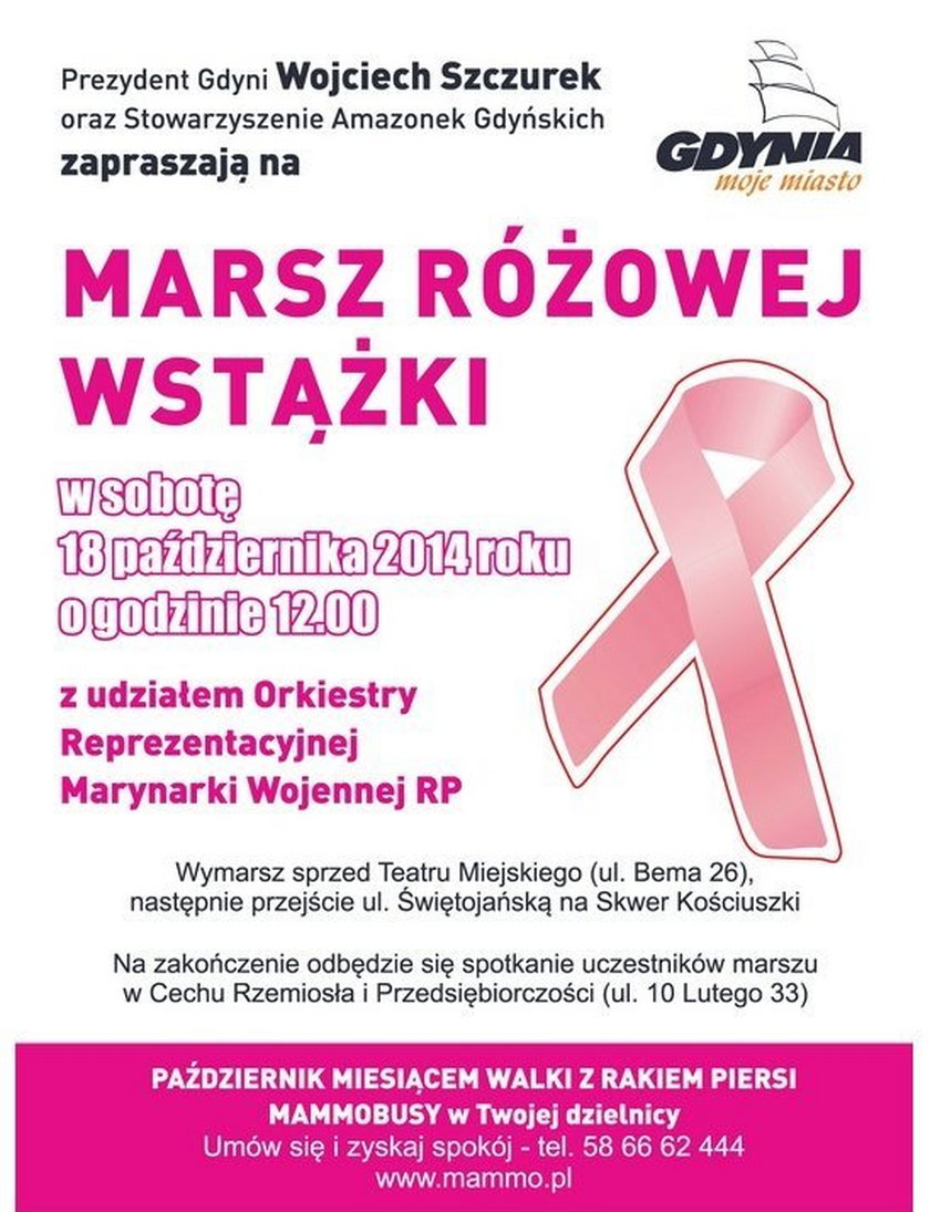 W najbliższą sobotę Marsz Różowej Wstążki w Gdyni
