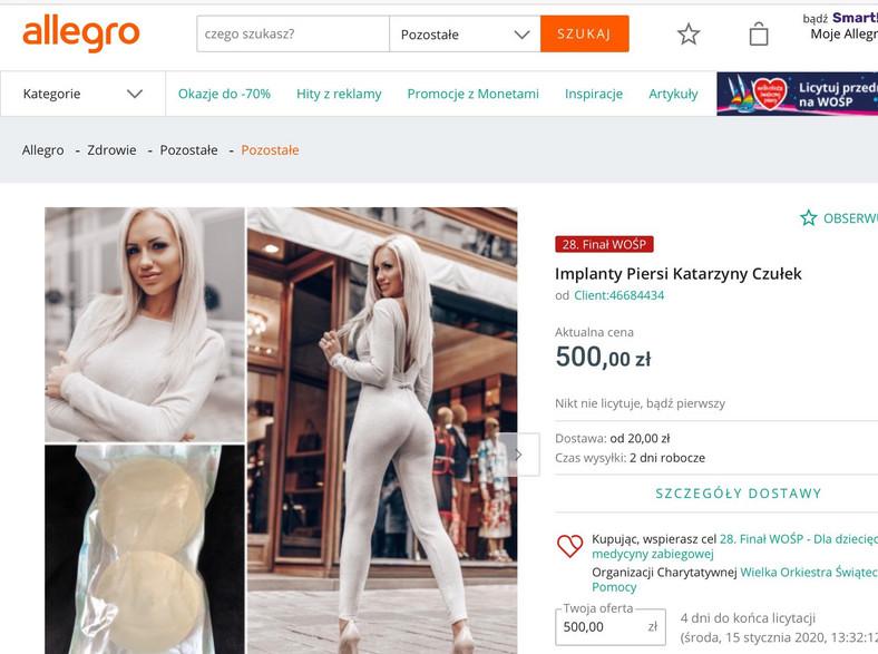 aukcja Allegro z implantami piersi Katarzyny Czułek