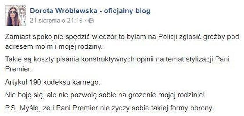 Dorota Wróblewska ma kłopoty po krytyce stroju premier Szydło